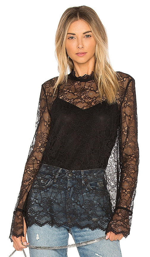 Theory Long Sleeve Lace Top in Black