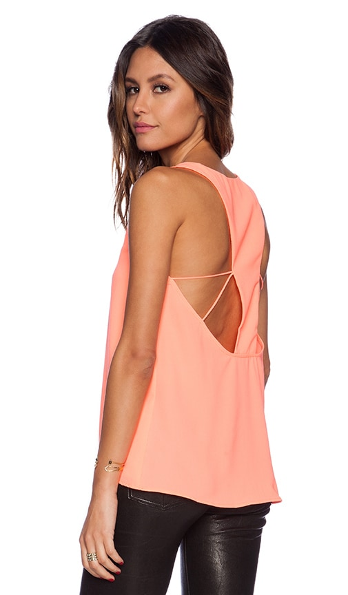 Three of Something Reflections Tank in Neon Peach