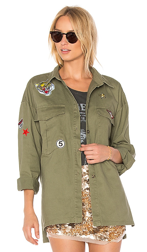 the hour Patched Army Jacket in Olive