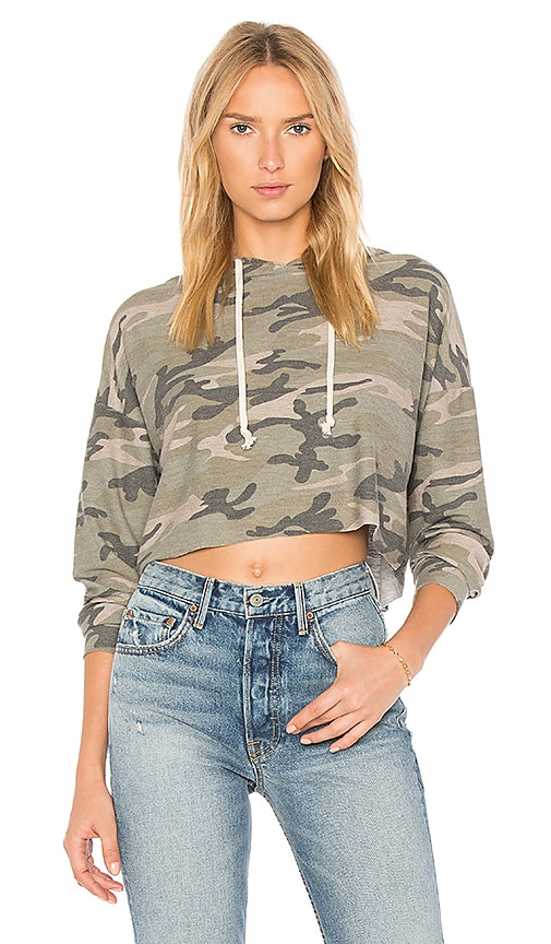 the hour Cropped Camo Hoodie in Green