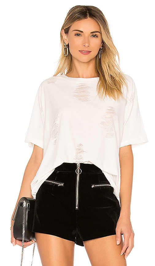 the hour Distressed Tee in White