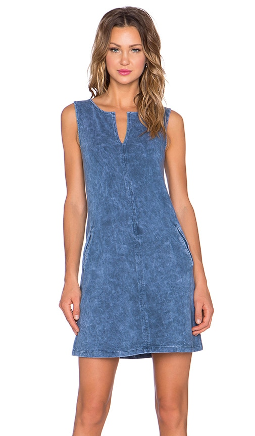 three dots Sleeveless Tunic Dress in Blue Jean