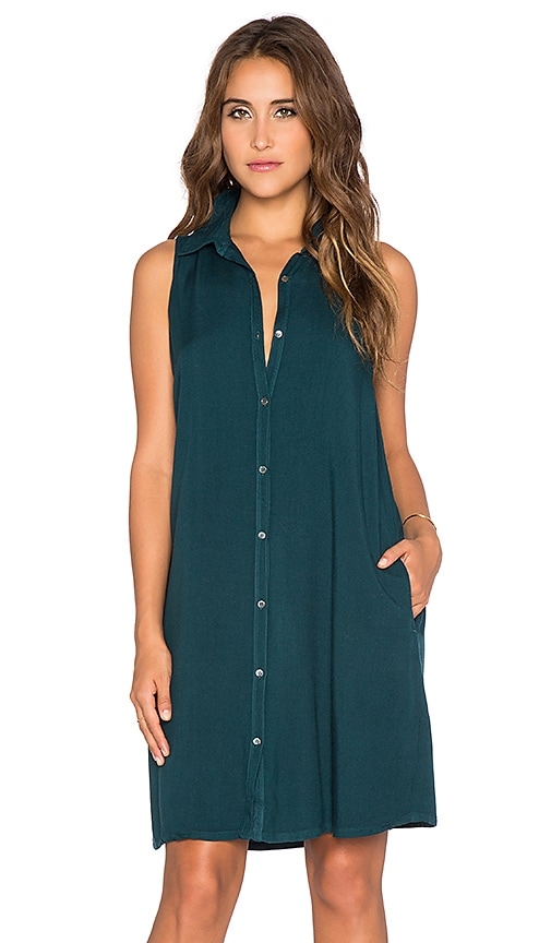 three dots Sleeveless Shirt Dress in Warm Teal