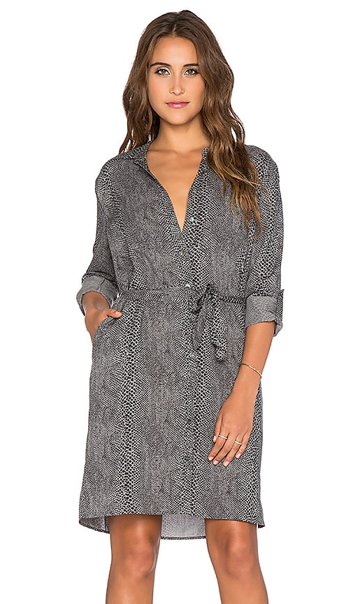 three dots Long Sleeve Shirt Dress in Black Snake Print