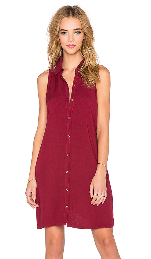 three dots Sleeveless Shirt Dress in Brick Stone