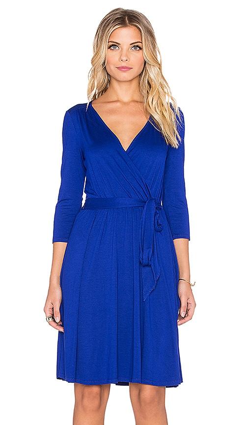 three dots 3/4 Sleeve Wrap Dress in Blue Rebel