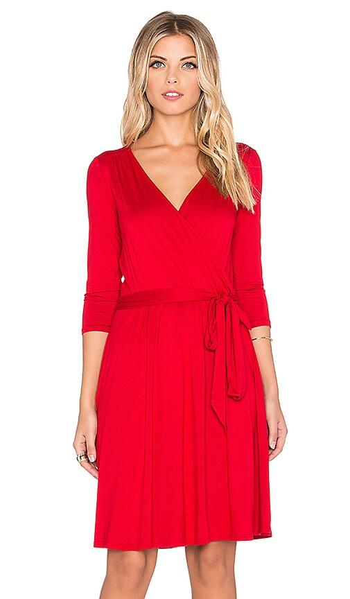 three dots 3/4 Sleeve Wrap Dress in Red Graffiti