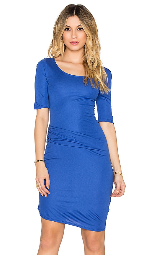 three dots Christina Drape Front Dress in Blue Jewel