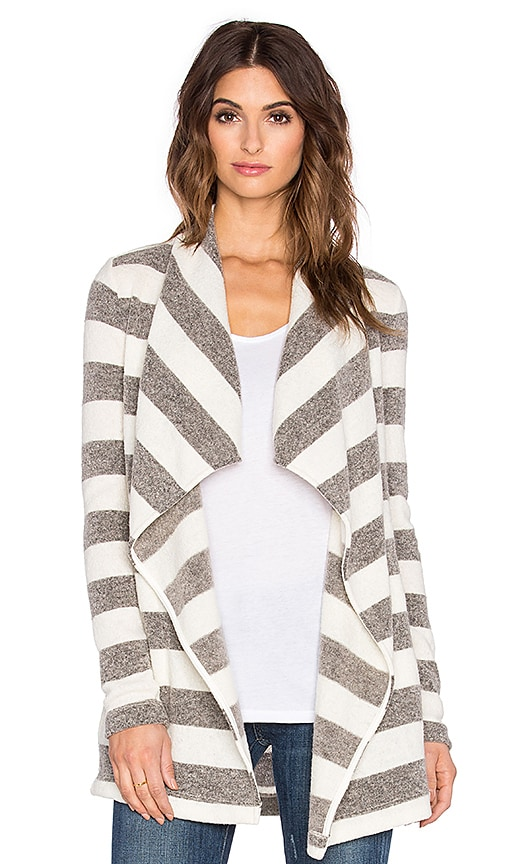 three dots Kiara Drape Front Cardigan in Natural
