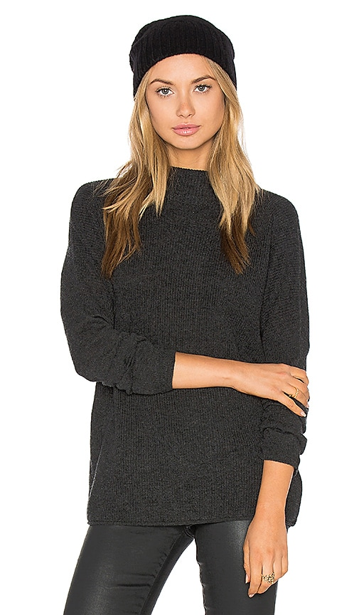 three dots Penny Mock Neck Sweater in Charcoal