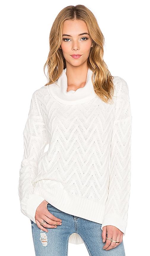 three dots Draped Turtleneck Tunic Sweater in Gardenia