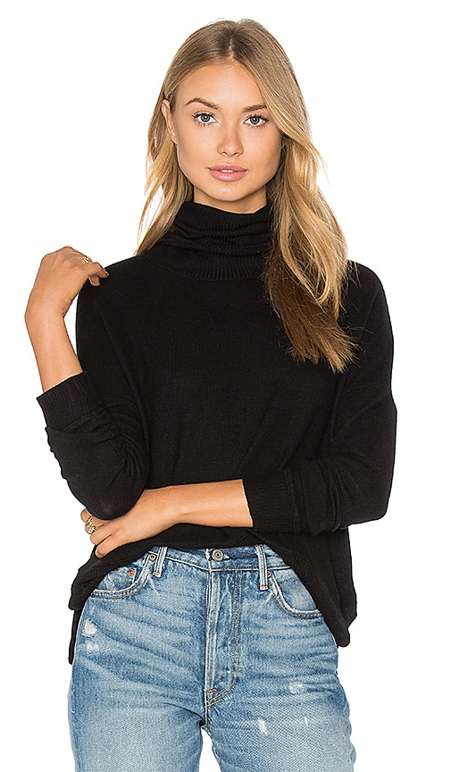 three dots Laurel Funnel Neck Sweater in Black