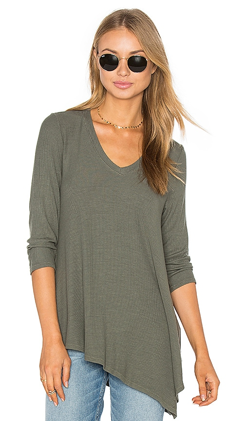 three dots Angie Asymmetrical Top in Olive