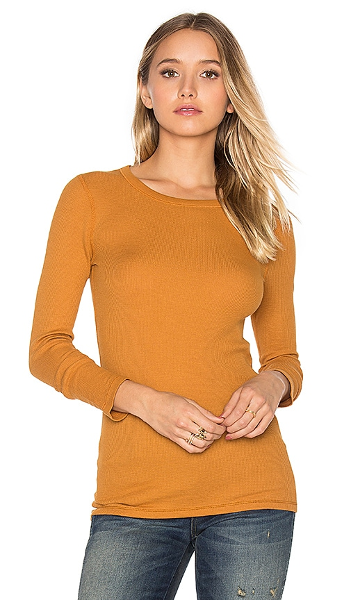 three dots Long Sleeve Crew Neck Tee in Tan