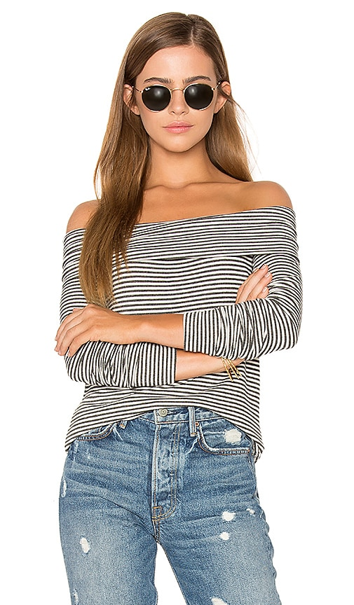 three dots Off Shoulder Long Sleeve Top in Charcoal