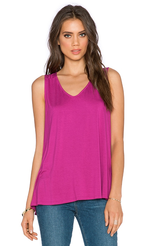 three dots Fit & Flare Sleeveless Tank in Sparkling Sangria
