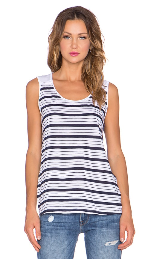 three dots Striped Muscle Tank in White