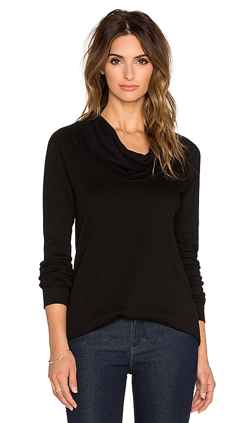 three dots Long Sleeve Funnel Neck Tunic in Black