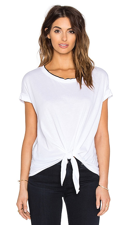 three dots Alma Tie Front Tee in White
