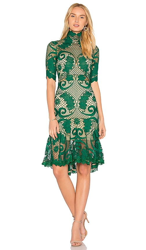 THURLEY Babylon Lace Dress in Green