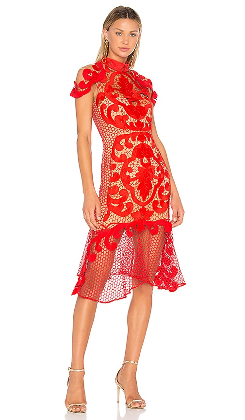 THURLEY Rose Ceremony Midi Dress in Red