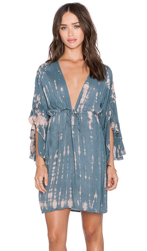 Tiare Hawaii Lily Mini Dress in Blue, Grey & Skin Sabia
