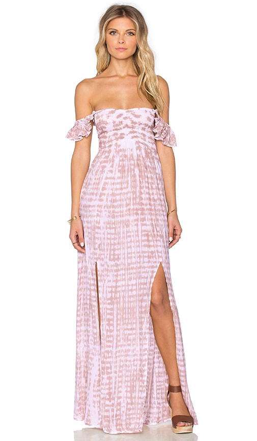 Tiare Hawaii Hollie Off shoulder Dress in Raffia & Skin & White