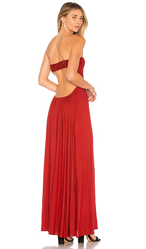 Tiare Hawaii Kai Strapless Maxi Dress in Red