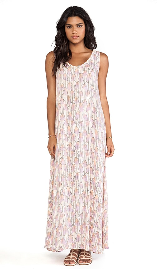 Banyan Scoop Back Braided Neckline Maxi Dress
