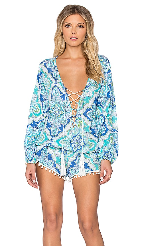Tiare Hawaii Kalani Lace Up Romper in Mosaic Blue & Teal & Green