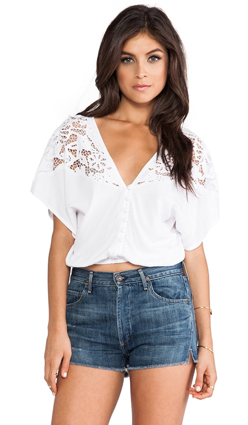 Tiare Hawaii Lace Panel Plumeria Blouse in White