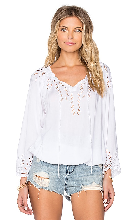 Tiare Hawaii Baja Crochet Detail Top in White