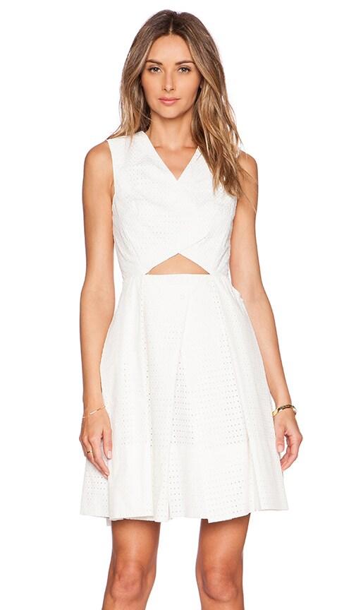 Tibi Riko Eyelet Origami Dress in White