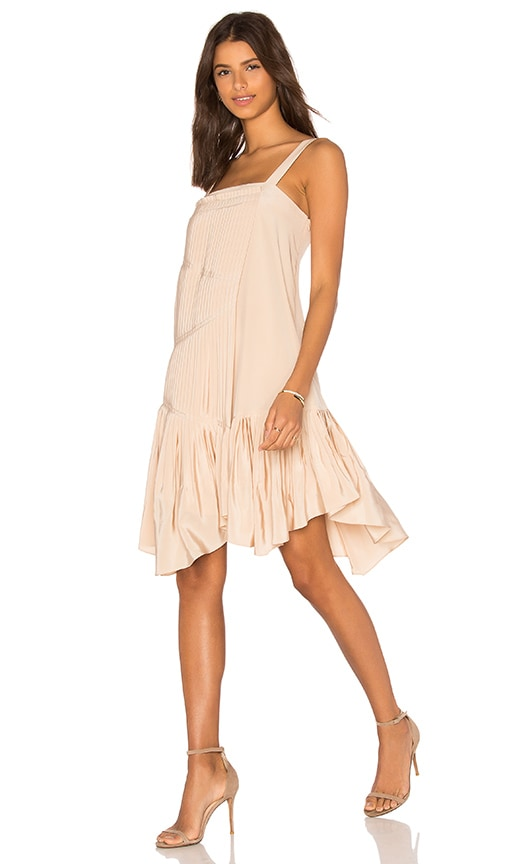 Tibi Pleated Strappy Dress in Beige