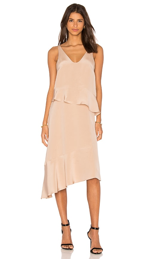 Tibi Pleated Double Layer Dress in Beige