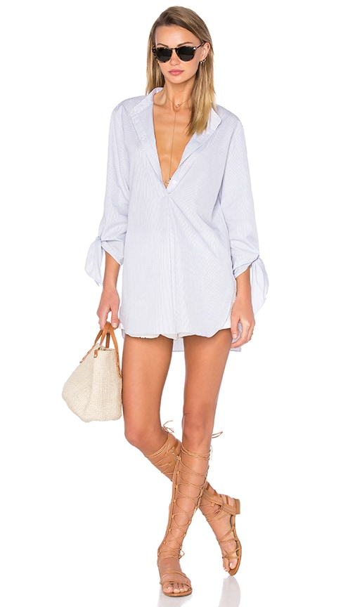 Tibi Tie Sleeve Tunic in Blue