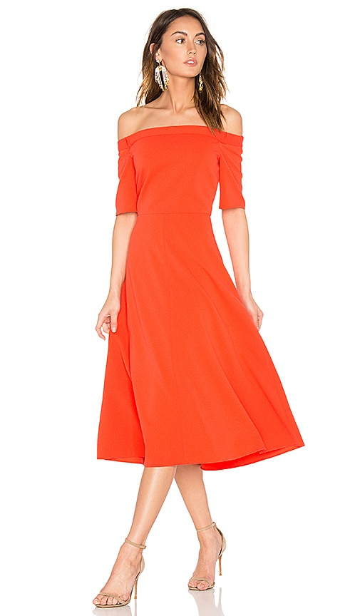 Tibi Elbow Sleeve Dress in Orange