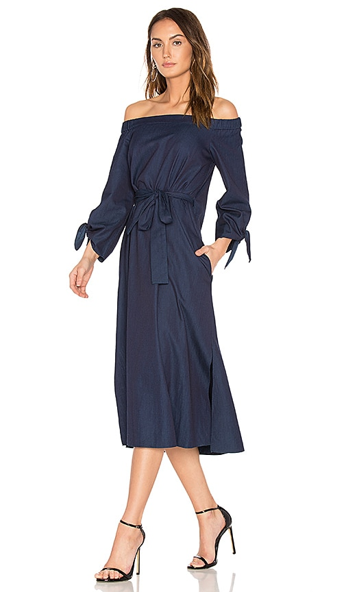 Tibi Off Shoulder Belted Midi Dress in Navy