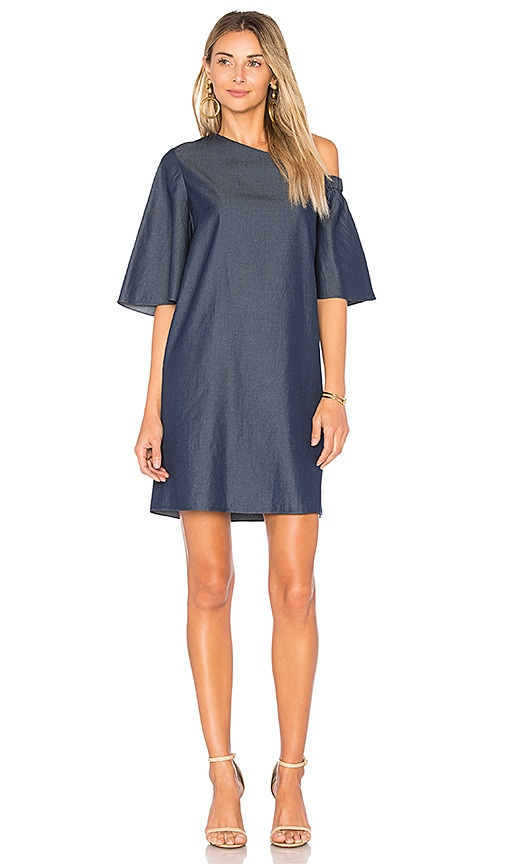 Tibi One Shoulder Bell Sleeve Dress in Dark Denim