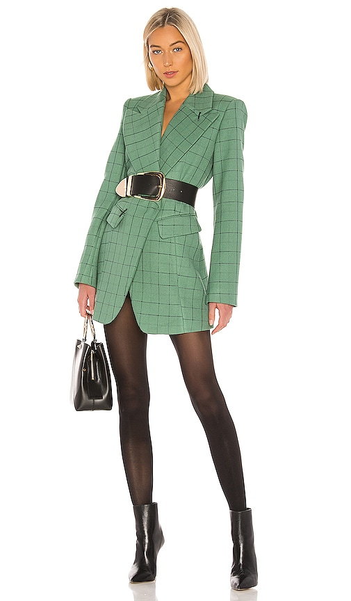 Windowpane Peaked Lapel Blazer Dress