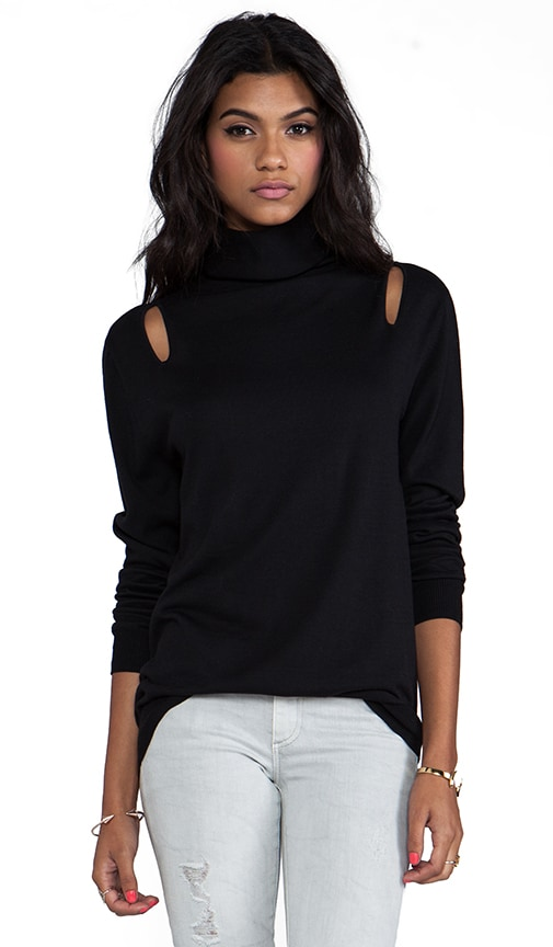 Basic Cut Out Slim Turtleneck