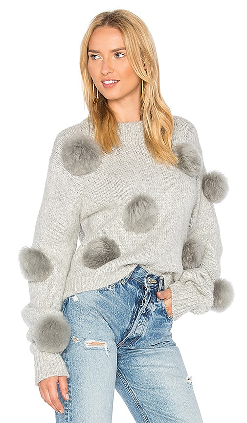 Tibi Alpaca Cropped Pullover in Gray