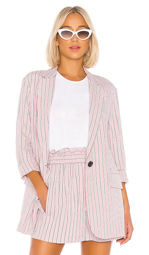 Stripe Viscose Twill Oversized Blazer