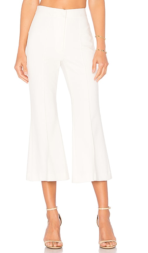 Tibi Jane Cropped Bootcut Pant in White