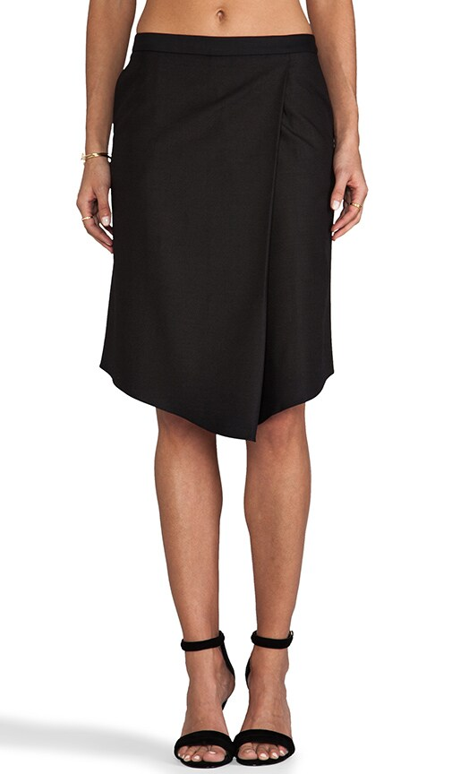 Sharkskin Suiting Draped Skirt