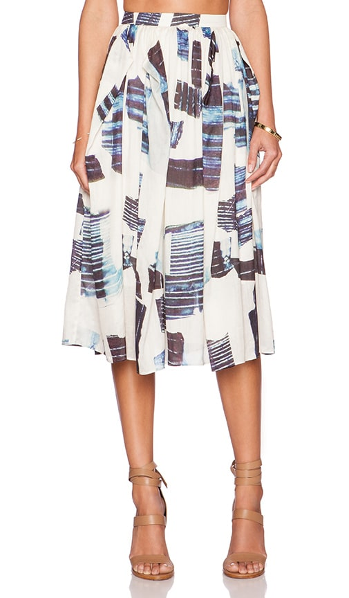 Tibi Oki Origami Shirred Skirt in Cream Multi