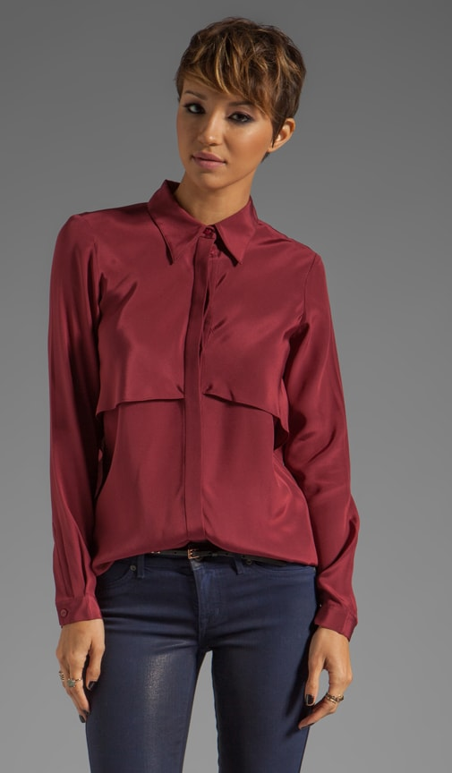 Solid Silk Drape Blouse