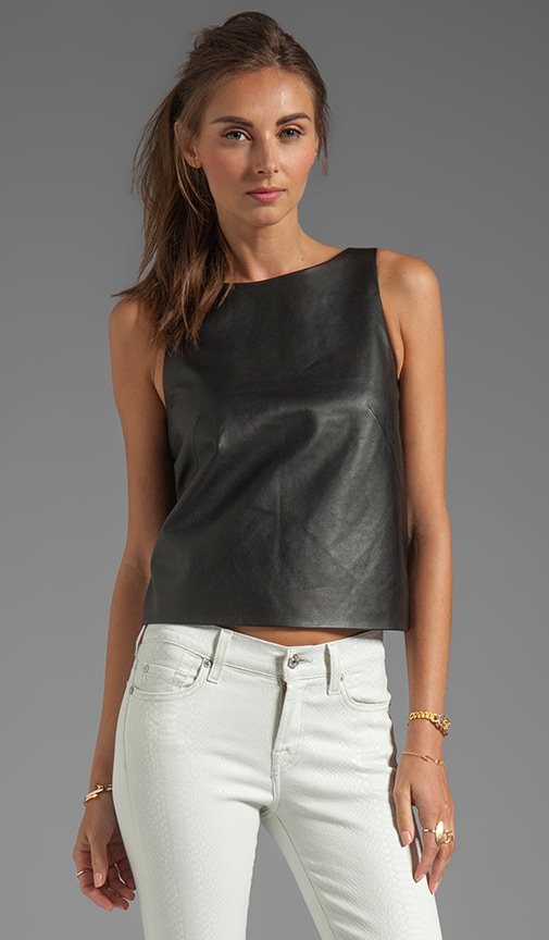 Leather and Ponte Crop Top
