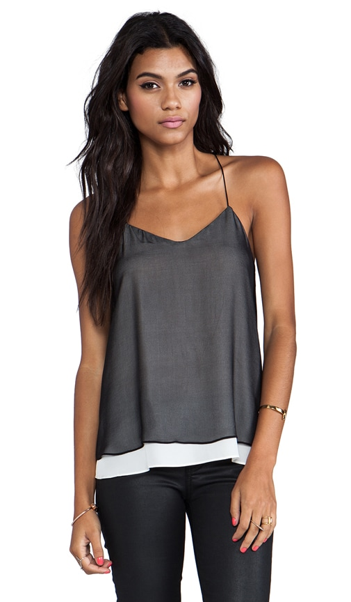 Layered Chiffon Cami In Black/Ivory