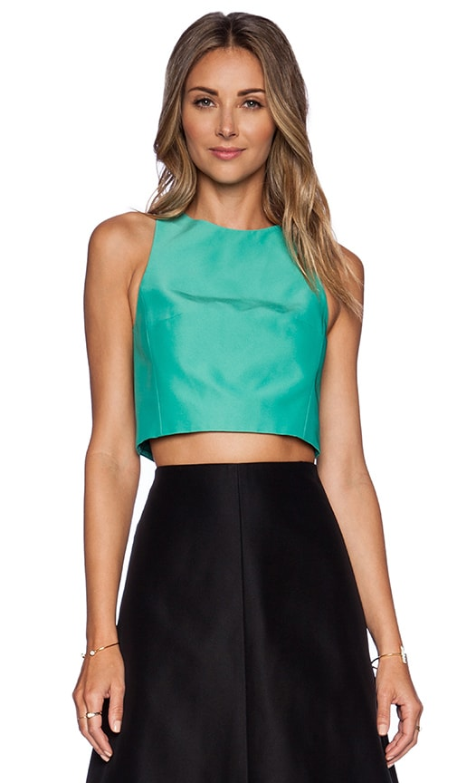 Tibi Techno Faille Cropped Top in Underwater Green